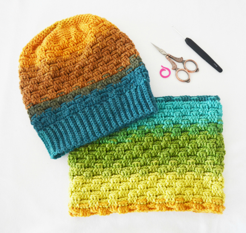 gorro y cuello crochet paint katia