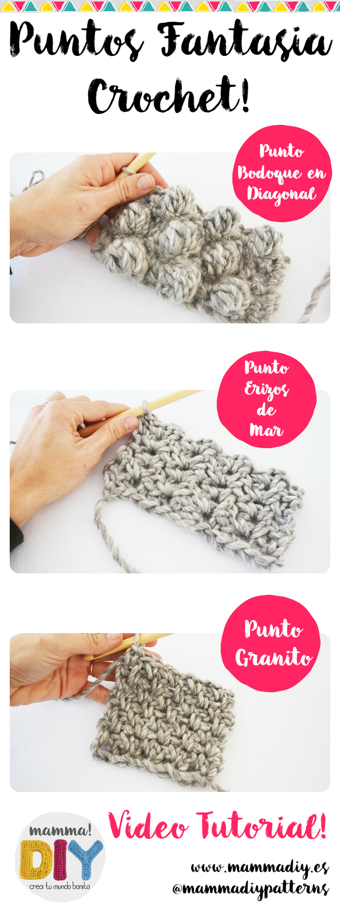Puntos Fantasía Crochet Video Tutorial Youtube por Mamma DIY