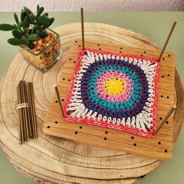 bloquear un granny square crochet